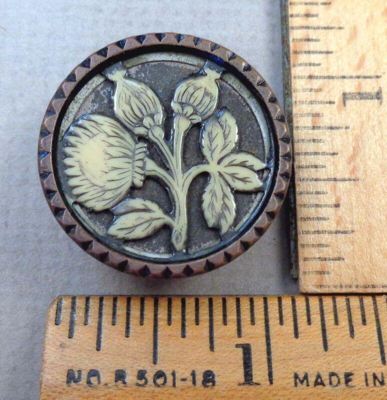 FLORAL / FLOWER Scene, Antique IVROID BUTTON, 1800s, Celluloid Set in Brass/Tin