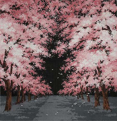 Furoshiki Cloth Japanese Fabric 'Night Sakura' Cherry Blossom Pink Cotton 50cm