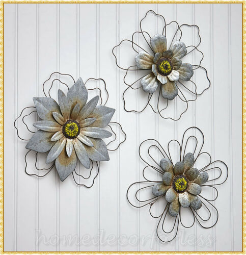 Set of 3 Metal Flower Galvanized Wired Rustic Wall Art Indoor Outdoor Home Decor