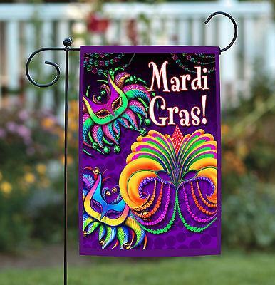 Toland Happy Mardi Gras 12.5 x 18 Colorful Celebrate Double Sided Garden Flag