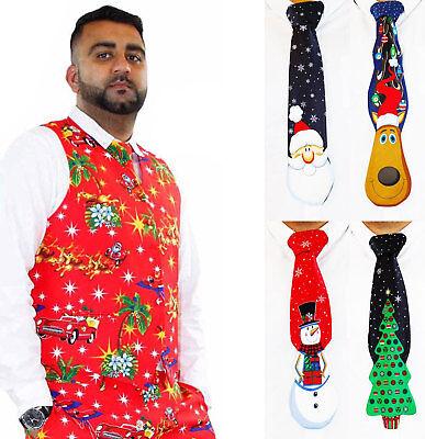 Weihnachten Weste (Herren Weihnachten Kostüm Weste oder 3D Krawatte Deluxe Festlich Kostüme)