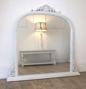 Mantle White Ornate Overmantle Vintage Wall Mirror 43