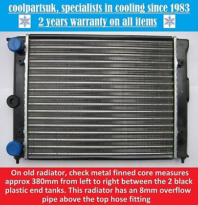 BRAND NEW RADIATOR VOLKSWAGEN POLO 10 PETROL 1983 TO 1990  KIT CAR 380mm CORE