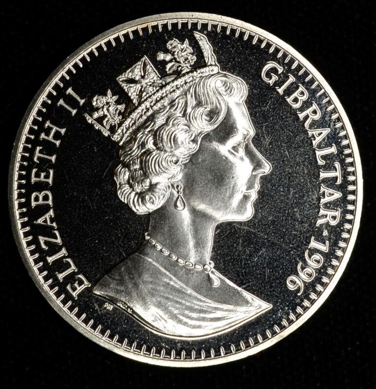 Gibraltar 1 Crown 1996 Gem BU PL 1C UK Britain 75th Birthday Duke Edingburgh