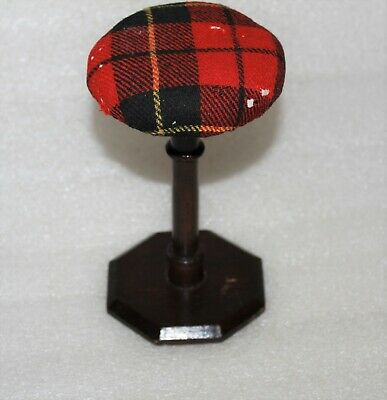 VINTAGE TURNED WOOD TARTAN COVERED WIG / HAT STAND SHOP DISPLAY (LOT 11 )