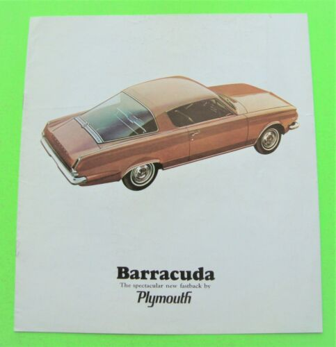1965 PLYMOUTH BARRACUDA COLOR CATALOG Brochure 8-pgs FASTBACK COUPE Xlnt