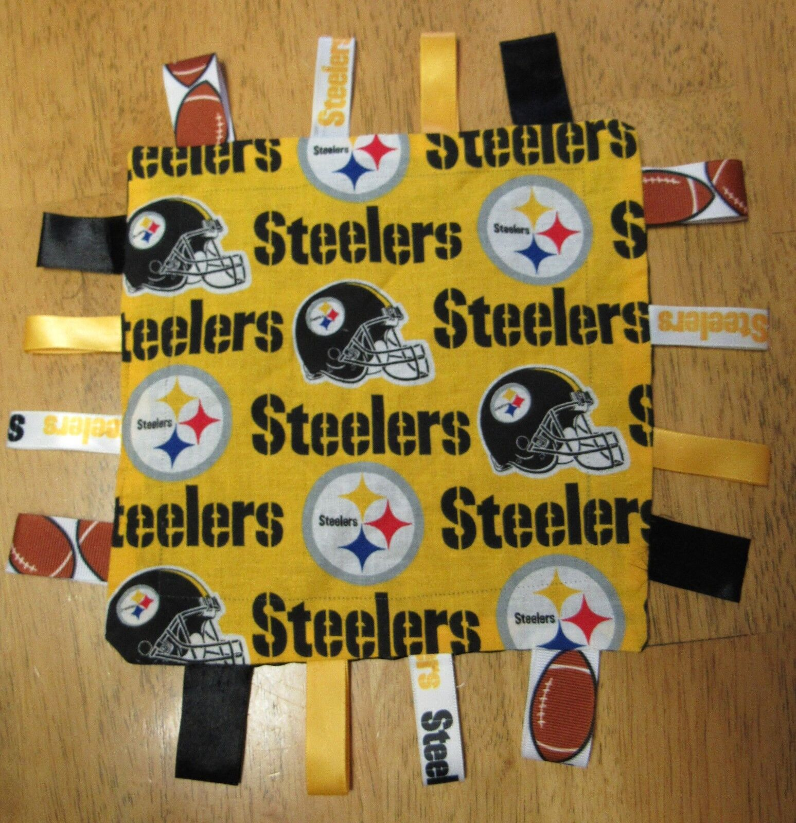 PITTSBURGH STEELERS Handmade Cotton Satin SECURITY BLANKET w