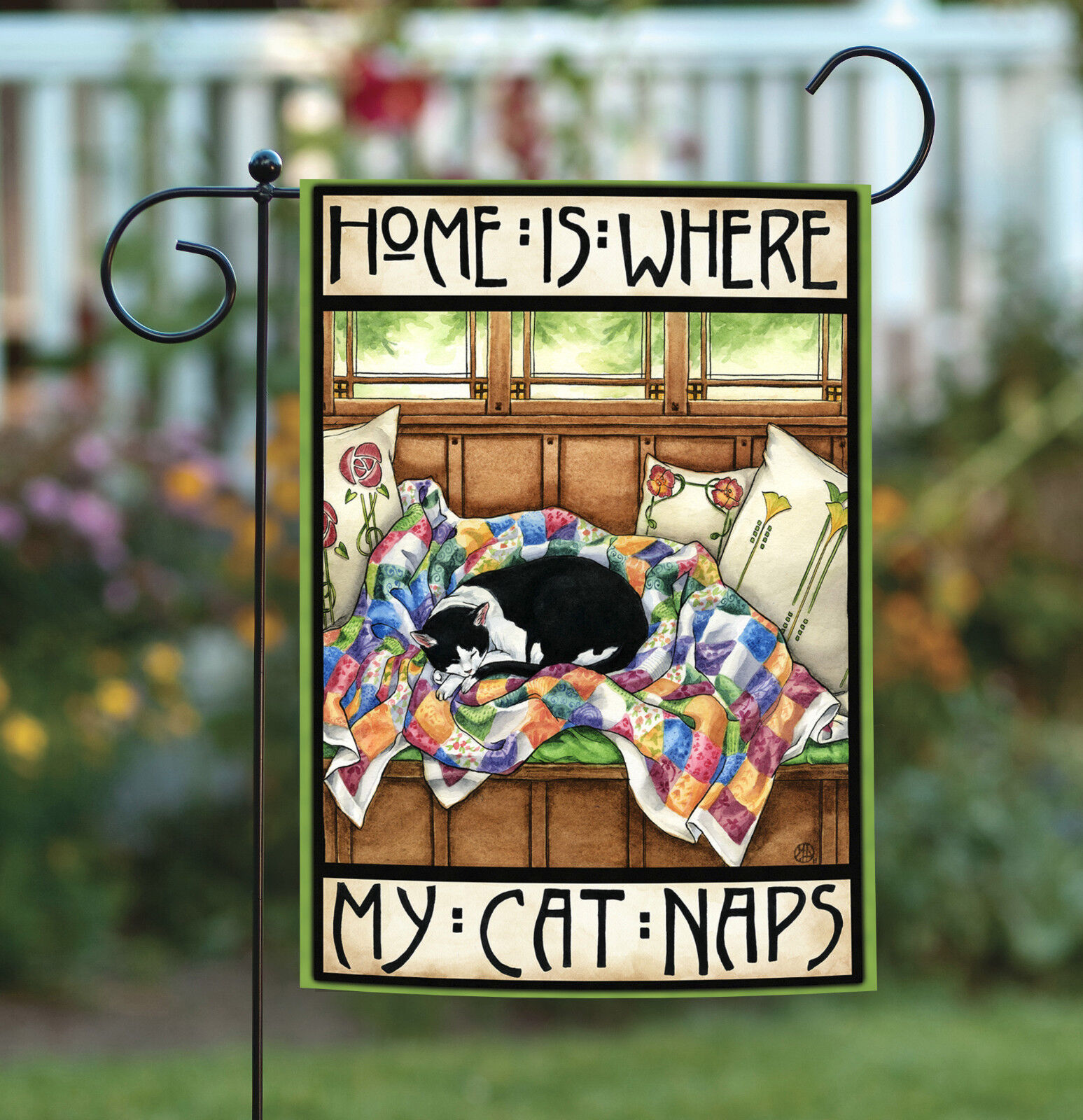 Toland Home is Where My Cat Naps 12.5 x 18 Cute Kitty Double