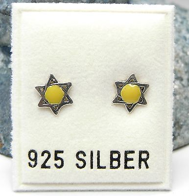 NEU 925 Silber OHRSTECKER Davidstern HEXAGRAMM in gelb OHRRINGE Earrings STERN