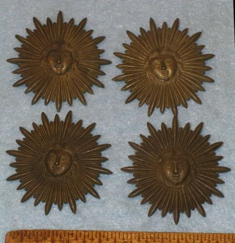 """4 Antique 1.75"""" STAMPED BRASS SUNBURST w/ FACE New Old Stock *MC LILLEY * NOS"""