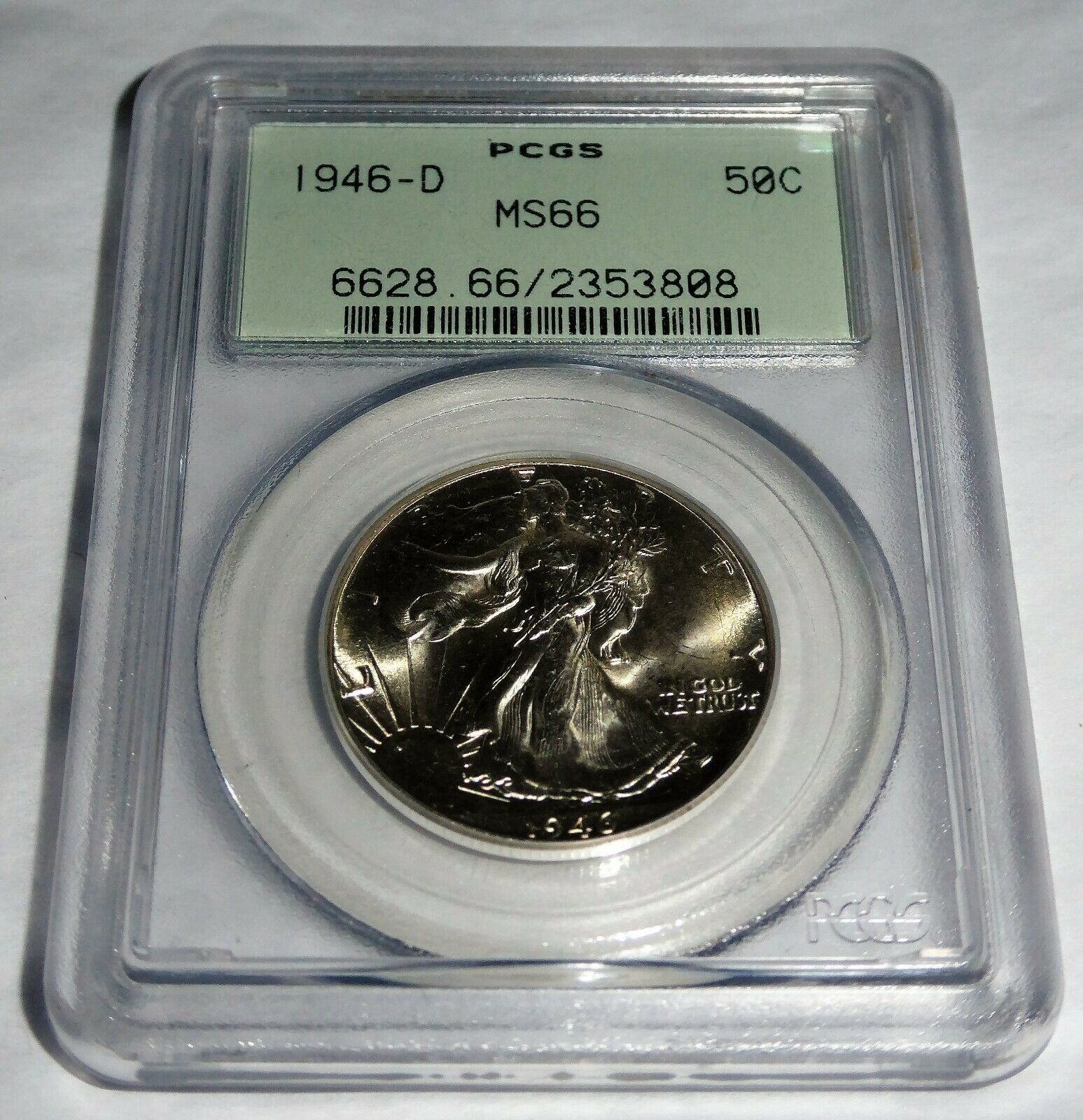 1946-D 50C PCGS MS66 50 Cent Fifty Cents Coin Walking Liberty Currency 💎