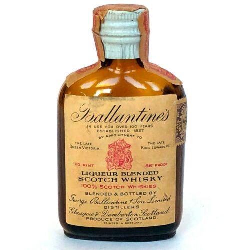Vtg Ballantines Miniature Liquor Bottle Scotch Whisky Maryland Tax Stamp Empty