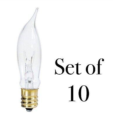 7.5 Watt Clear Flame Tip Light Bulbs Candelabra Socket - Set of 10