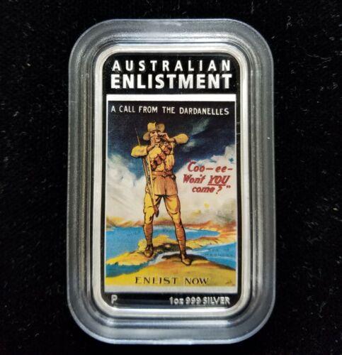 "2014 ""Australian Enlistment"" 1oz Silver Proof Rectangular $1 .999 Fine Silver"