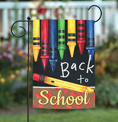 Toland Back to School Crayons 12.5 x 18 Colorful Fall Pencil Apple Garden Flag