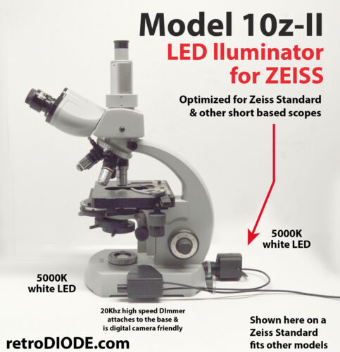 LED retrofit Kit with dimmer control for older Zeiss standard microscopes.