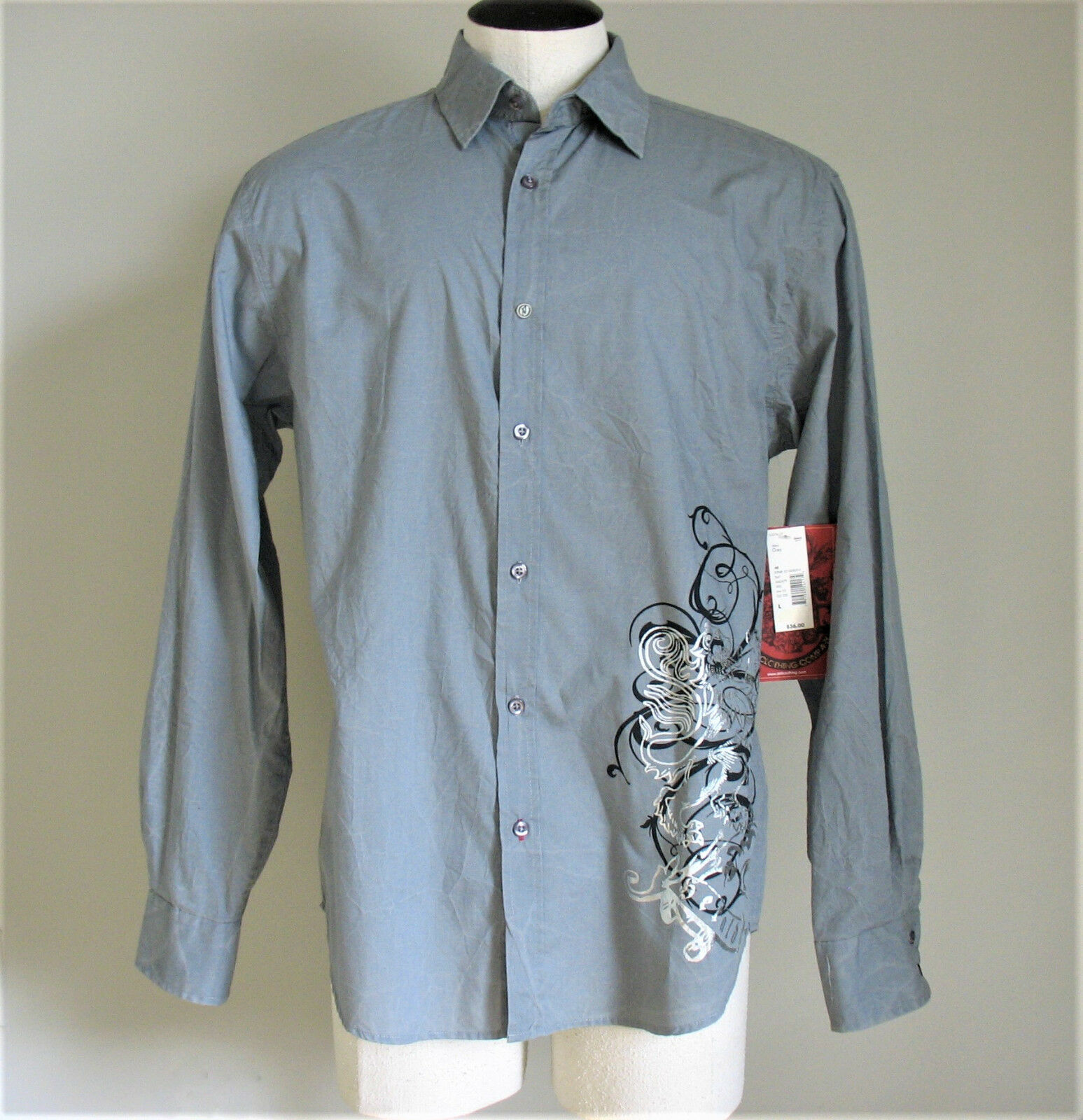 Drill Clothing Company NYC Mens Shirt Large Gray Button Down