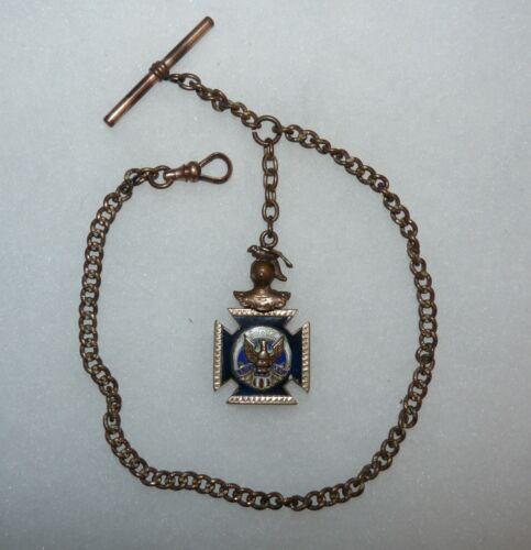 Vintage 1930s-40s Fraternal Order of Eagles FOE Pocket Watch Chain