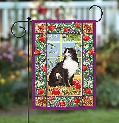 Toland Kitchen Kitty 12.5 x 18 Colorful Spring Flower Fruit Cat Garden Flag