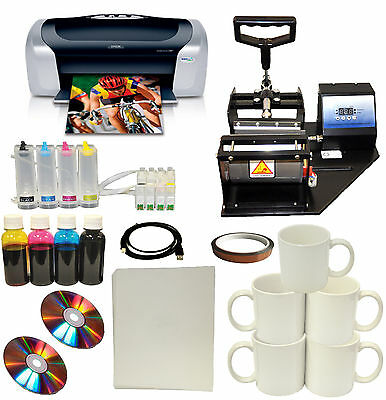 New Mug Cup Heat Press Epson C88+Printer Sublimation CISS Ink,Transfer Paper Kit