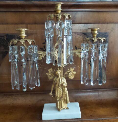 "ANTIQUE CRYSTAL GOLD PLATED GIRANDOLE CANDELABRA WITH ""SALTAN FIGURE"" CIRCA 1890"