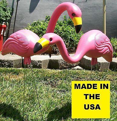 2 Lg Pink Flamingos Plastic Yard Garden ...