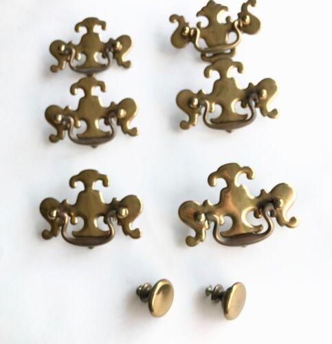 8 pc. Brass Dresser Desk Drawer Bail Pulls & Knobs Vintage