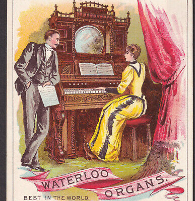 Antique Waterloo Organ 1800's Millersburg PA Music Store Advertising Trade Card