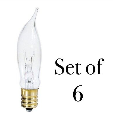 7.5 Watt Clear Flame Tip Light Bulbs Candelabra Socket - Set of 6