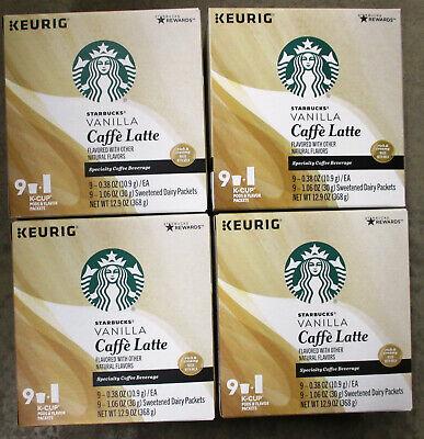 Starbucks Vanilla Caffe Latte Coffee K Cup Keurig 36 Cups / Best By 02/2020