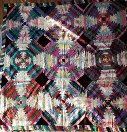 Victorian Era Pineapple Log Cabin Quilt Top silks and Velvet