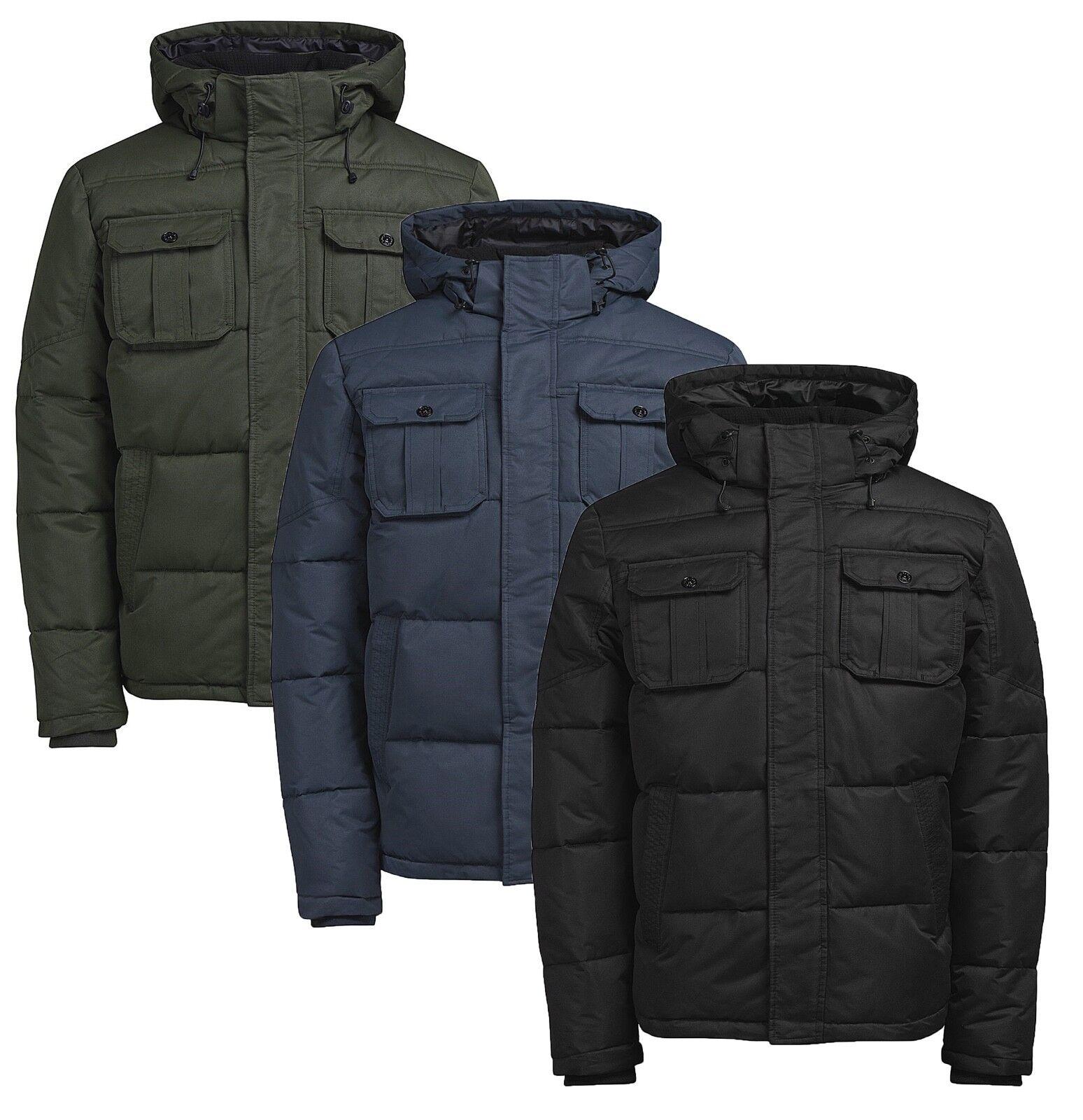 Crosshatch Men/'s Falcao Quilted Jacket S M L XL Black /& Midnight Blue DD2