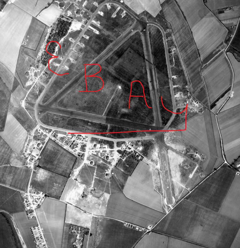 WWII HUGE 11X14 AERIAL RECON PHOTO 8TH USAAF OVER RAF MT FARM AIRDROME LOOK