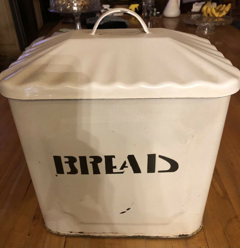 Antique Tin Bread Enamel Art Deco Stencil 1920s Rustic Kitchen