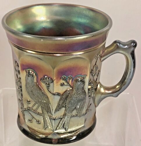 VINTAGE NORTHWOOD CARNIVAL GLASS SINGING BIRDS PURPLE AMETHYST MUG ANTIQUE RARE