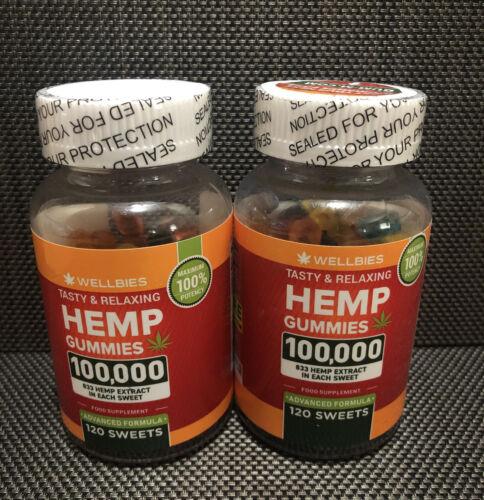 (2) Wellbies Premium Hemp GummiesNatural Hemp Made in USA 100,000 120 Gummies