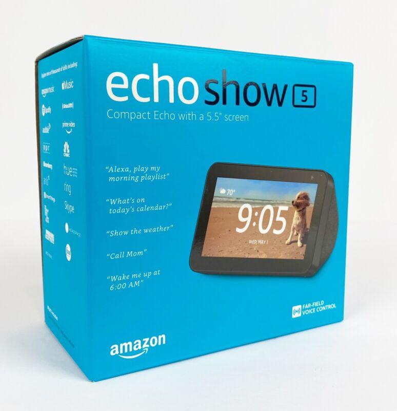 "Amazon Echo Show 5"" HD Compact smart display with Alexa - Brand new, ships fast!"