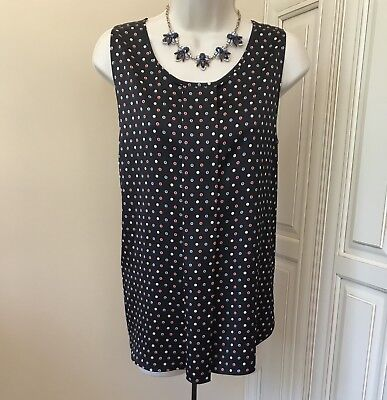 Red Polka Dots (Ann Taylor Sleeveless Black With Red Pink & Blue Polka Dots Work Blouse ~)