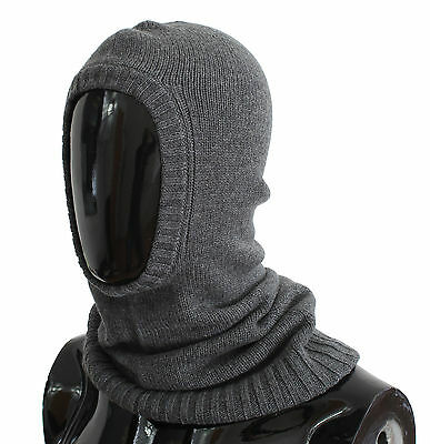 NWT $500 DOLCE & GABBANA Gray Cashmere Knitted Crochet Hood Scarf Hat One Size