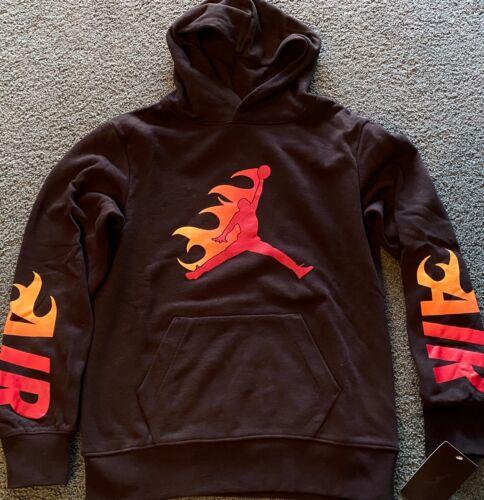 NWT Nike Air Jordan Boys YLG Black/Red/Orange Flames Fire Hoodie Sweatshirt L