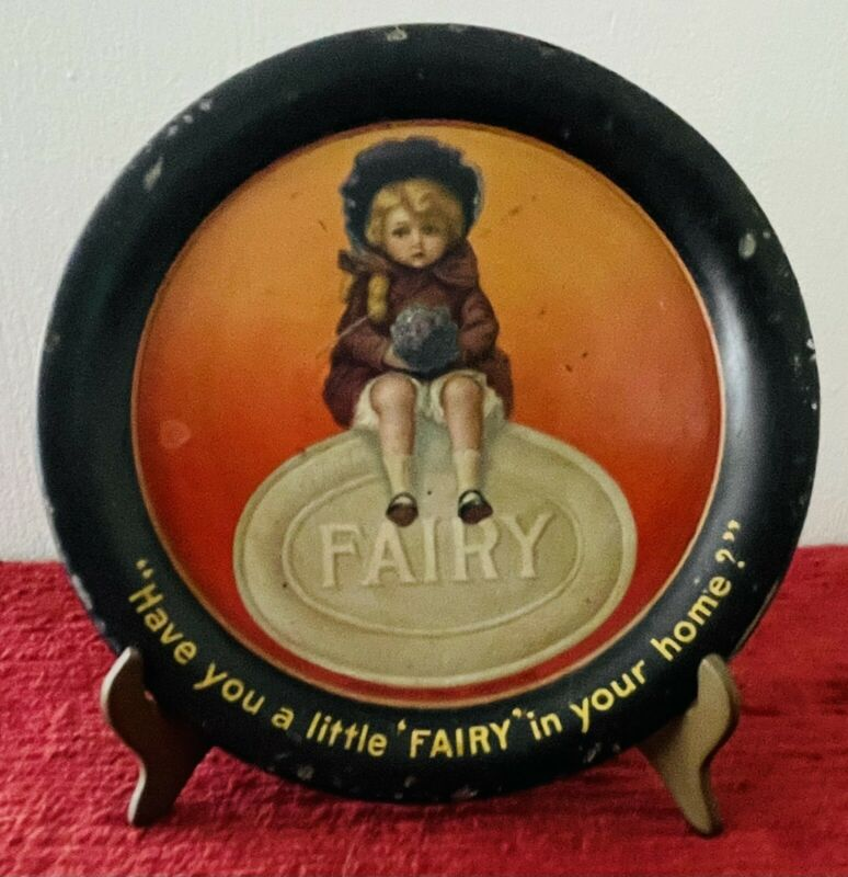 Antique Early Advertising Fairy Soap Tin Lithographed Tip Tray with Little Girl