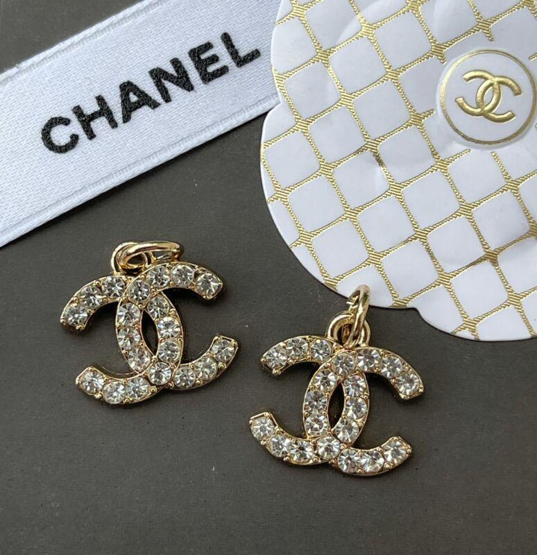 Chanel Stamped Gold Rhinestone CC Logo Zipper Pull Charm, 19mm