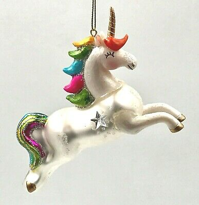 Christmas Ornament UNICORN SPARKLE STAR Glitter GLASS Rainbow Colors 4.5