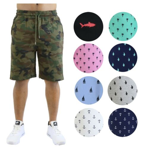 Mens Printed Shorts French Terry Lounge Athletic Sweat Shorts Gym Beach Sports