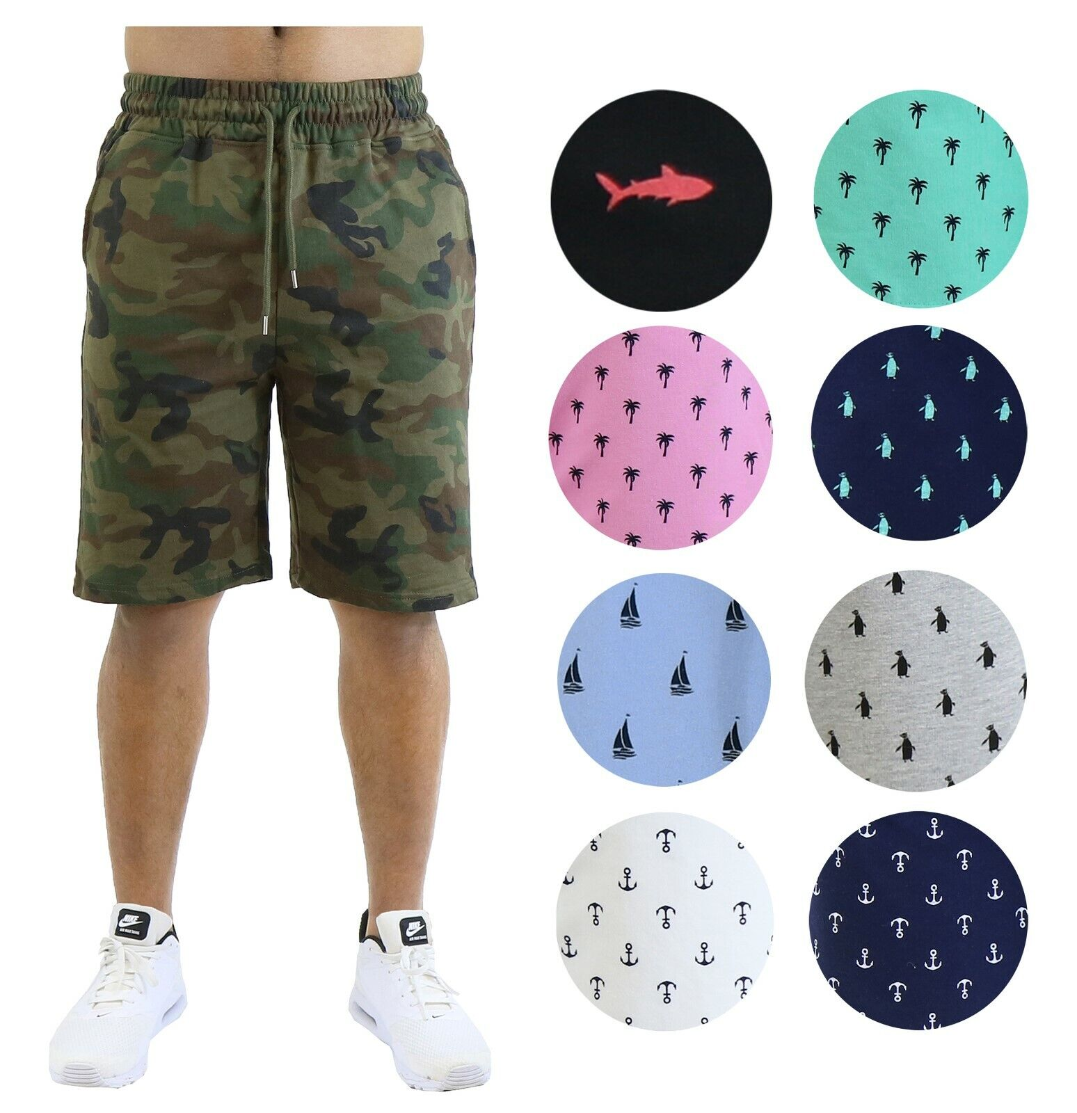 Mens Printed Shorts French Terry Lounge Athletic Sweat Shorts Gym Beach Sports Clothing, Shoes & Accessories