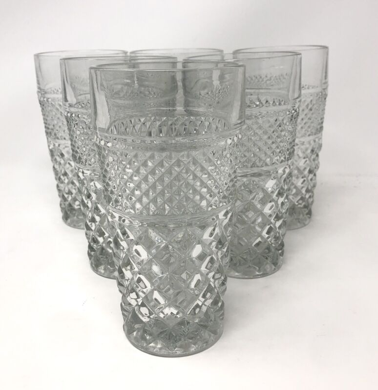 6 Vintage Anchor Hocking Wexford Water Tea Tumbler Glasses Mid Century