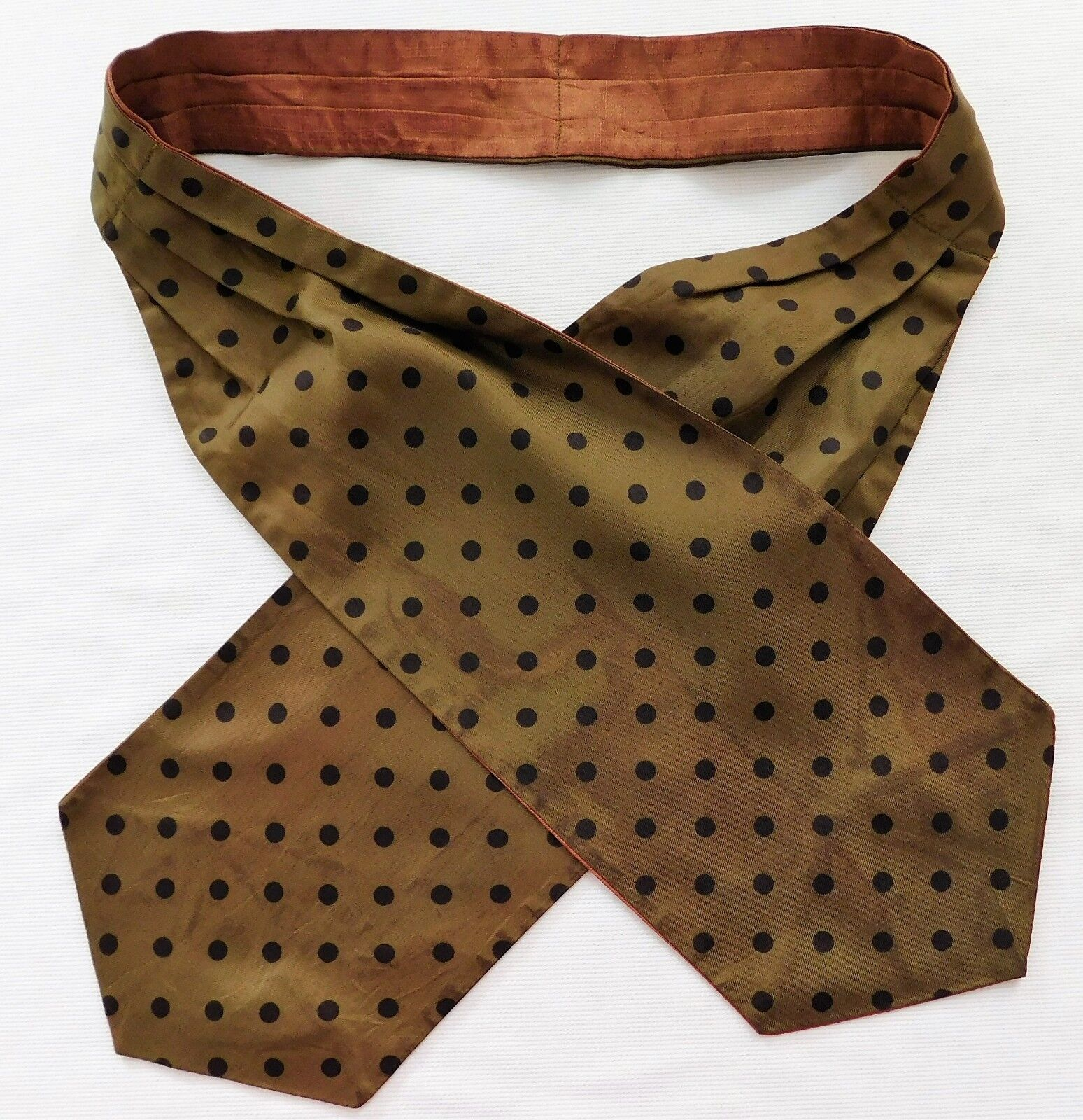 Vintage spotted silk cravat polka dots Green 1950s mens postwar DISCOLOURED
