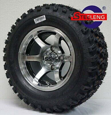 "GOLF CART 12""x7"" MACHINED 'GT' WHEELS / RIMS and 23"" All Terrain TIRES SET OF 4"