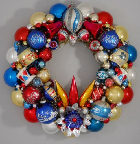 "Vintage Glass Christmas Ornament Wreath Hand Made 17"" Blue Red Gold (164)"