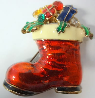 Christmas Tree Costume For Kids (Vintage Enamel Christmas Holly Tree Gifts For Kids Santa Boots Pin)